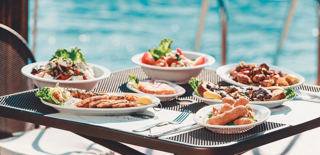 Pelion Resort restaurant food by pool